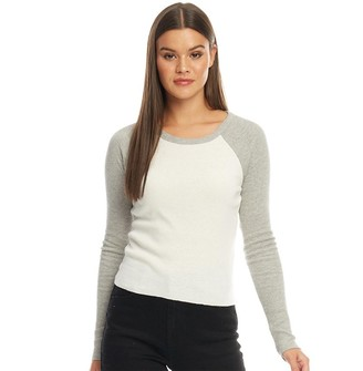 Brave Soul Womens Robin Long Sleeve Top Cream/Grey Marl