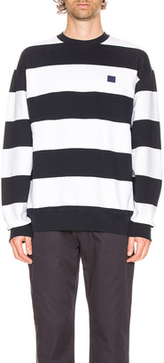 Acne Studios Forba Stripe Sweatshirt in Navy & White | FWRD