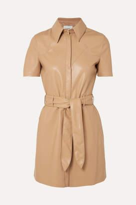 Nanushka Roberta Belted Vegan Leather Mini Dress - Beige