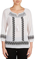 Allison Daley 3/4 Sleeve Embroidered Peasant Blouse