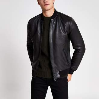 Superdry Mens River Island Black leather bomber jacket