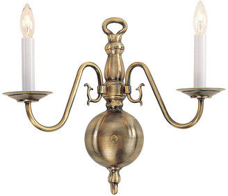 Livex Lighting Williamsburgh Wall Sconce, Antique Brass