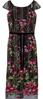 Marchesa Velvet-trimmed Embellished Tulle Dress