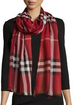 Burberry Giant Check Gauze Scarf, Red