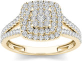 MODERN BRIDE 1/2 CT. T.W. Diamond Cluster 10K Yellow Gold Engagement Ring