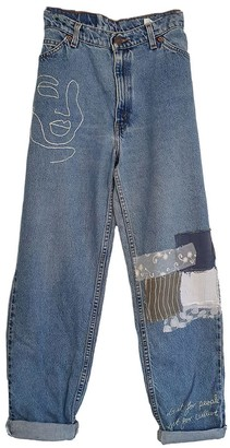 Fanfare Label High Waisted Recycled Embroidered Jeans Blue Denim