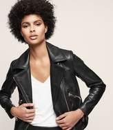 Reiss DREW Zip-up leather jacket