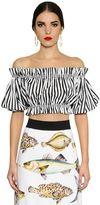 Dolce & Gabbana Striped Cotton Poplin Cropped Top