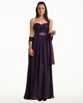 Le Château Chiffon Sweetheart Gown & Scarf