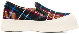 Marni Checked Chunky Slip-On Sneakers
