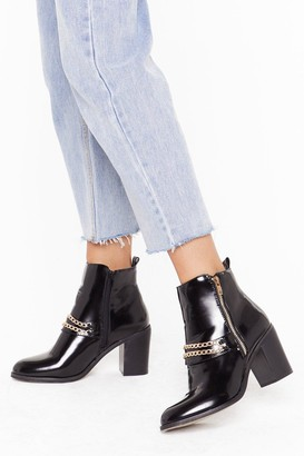 Nasty Gal Womens Dancin' in the Chain Faux Leather Patent Boots - Black