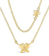 Thumbnail for your product : Sterling Forever Butterfly Two-Tier 14K Goldplated Necklace