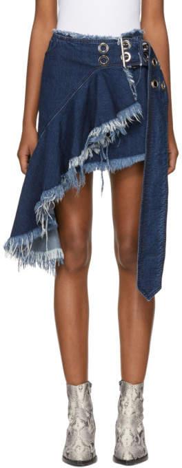 Marques Almeida Indigo Denim Fringed Wrap Belt Skirt