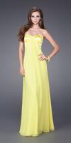 La Femme Sweetheart Chiffon Dress in Yellow 14589