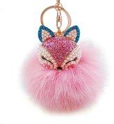 Key Chain, FTXJ Cute Artificial Fox Fur Ball with Fox Head Inlay Pearl Rhinestone Key Ring
