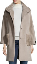 Cinzia Rocca Mink Fur-Trim Coat, Oatmeal