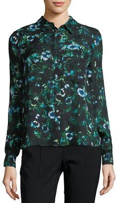 Haute Hippie Floral Silk Button-Down Shirt