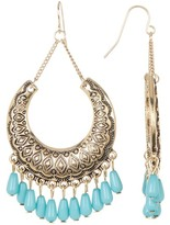 Natasha Accessories Engraved Stone Bead Detail Dangle Earrings