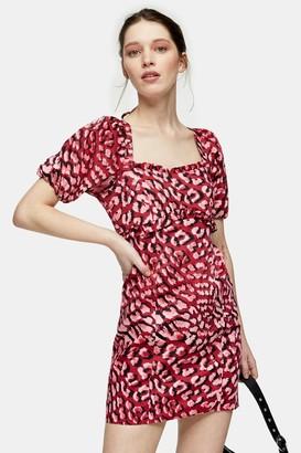 Topshop Red Animal Print Poplin Mini Tea Dress