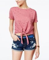 Planet Gold Juniors' Distressed Cropped Tie-Front T-Shirt