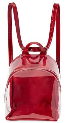 Time and Tru Ladies Clear Mini Backpack, Red Handbag with Adjustable Shoulder Straps