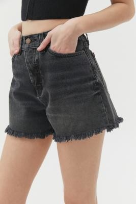 BDG Washed Black A-Line Cutoff Denim Shorts - Black 24 at Urban Outfitters