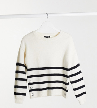 New Look Petite stripe jumper in white