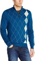 Haggar Men's Asymmetrical Argyle Quarter Zip Sweater