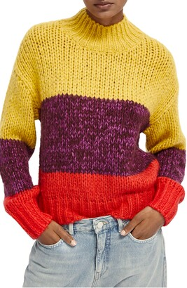 Scotch & Soda Mock Neck Chunky Knit Sweater
