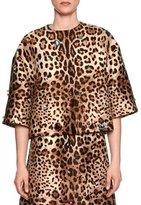 Dolce & Gabbana Jewel-Embellished Leopard-Print Jacket