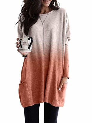 Sexy Dance Women's Casual Loose Long Sleeve Tops Pullover Blouse T-Shirt Gradient with Pockets Elegant Loose Tunic Tops Plus Size 5XL L Pink