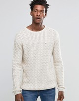 Tommy Hilfiger Sweater With Cable Knit In Cream