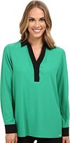 Calvin Klein Women's Long-Sleeve Blouse with Contrast Collar and Cuff