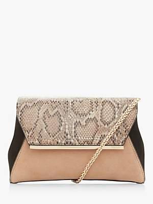 Dune Bushnell Leather Colour Block Snake Clutch Bag, Multi