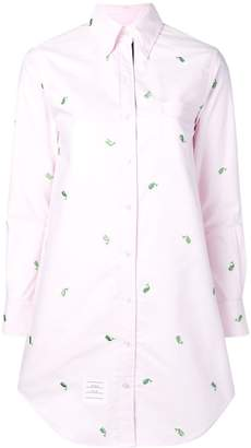 Thom Browne Whale Embroidery Oxford Shirtdress