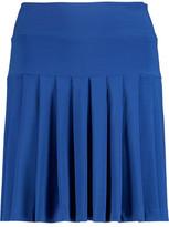 Norma Kamali Pleated Stretch-Jersey Mini Skirt