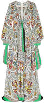 Etro Corded Lace-trimmed Printed Silk Maxi Dress - White