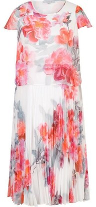 Chesca Peony Print Layered Pleated Dress