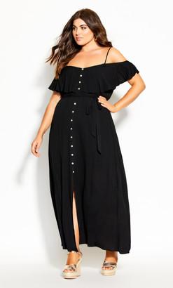 City Chic Summer Bliss Maxi Dress - black