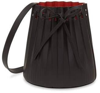 Mansur Gavriel Black Mini Pleated Bucket Bag - Flamma