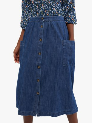 White Stuff Button Midi Skirt, Denim