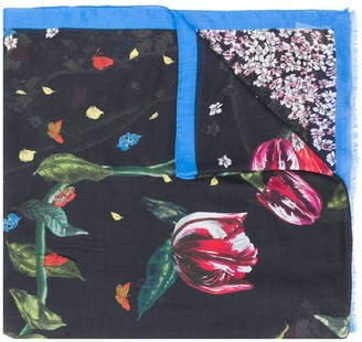 Zadig & Voltaire Floral Print Frayed Scarf