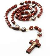 Catholica Shop Men's Cherry Wood Catholic Rosary Beads with Cross and 7 Images of Jesus