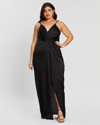 Missguided Curve Twist Front Satin Maxi Dress