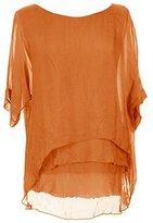 Sevello Clothing Womens Italian Short Sleeve Frill Silk Tunic Blouse USA 6-12