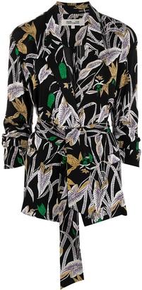 Diane von Furstenberg Floral Print Wrap Shirt