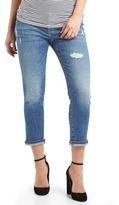 Gap Maternity inset panel distressed best girlfriend jeans