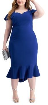 Emerald Sundae Trendy Plus Size Cold-Shoulder Midi Dress