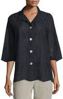 Caroline Rose Patchwork Cotton Eyelet Shirt