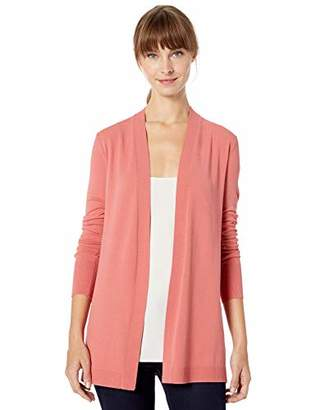 Lark & Ro Lightweight Long Sleeve Mid-Length Cardigan Sweater,Medium